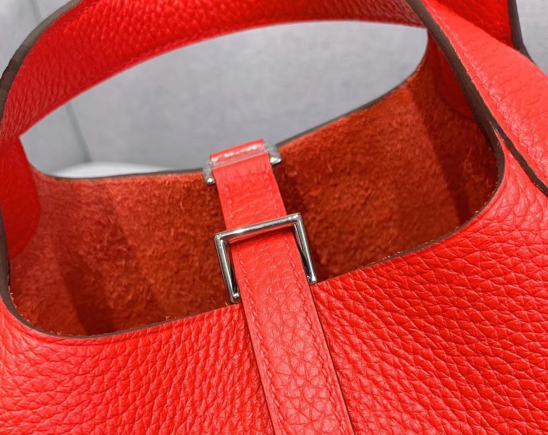 爱马仕Hermes 18cm Picotin菜篮子 法国进口原厂TC皮 番茄红 银扣