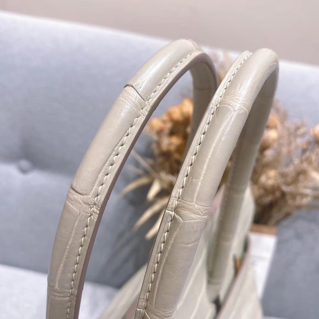 爱马仕铂金包 Birkin 35cm 湾鳄 奶油灰 金扣 全手工蜡线缝制