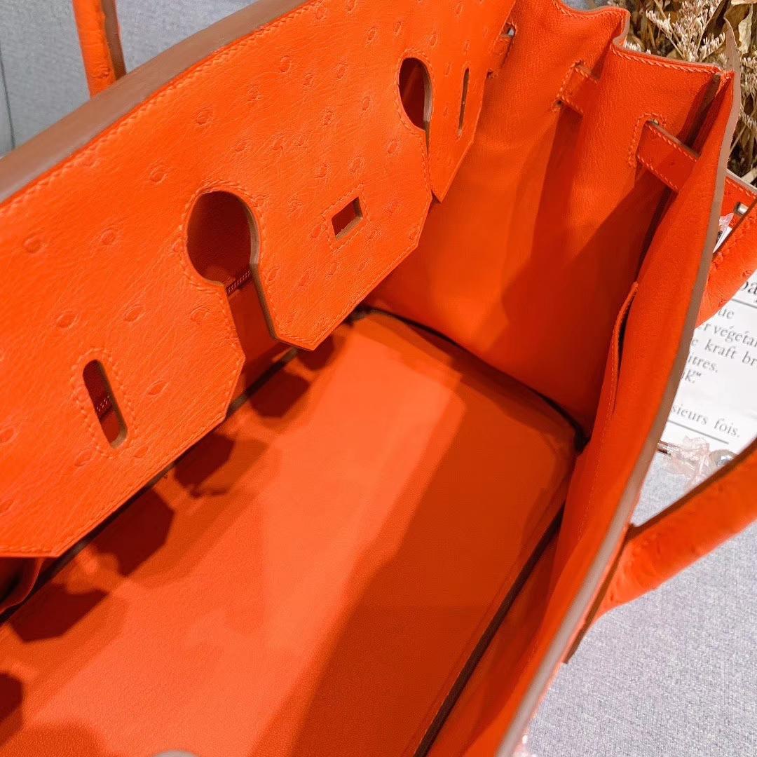 爱马仕铂金包 Birkin 35cm 南非进口原产鸵鸟皮 橙色 银扣 全手工蜡线缝制