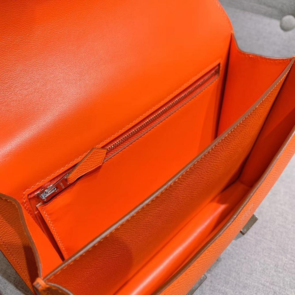 Hermes空姐包 Constance 24cm 原厂法国Epsom皮 橙色 银扣