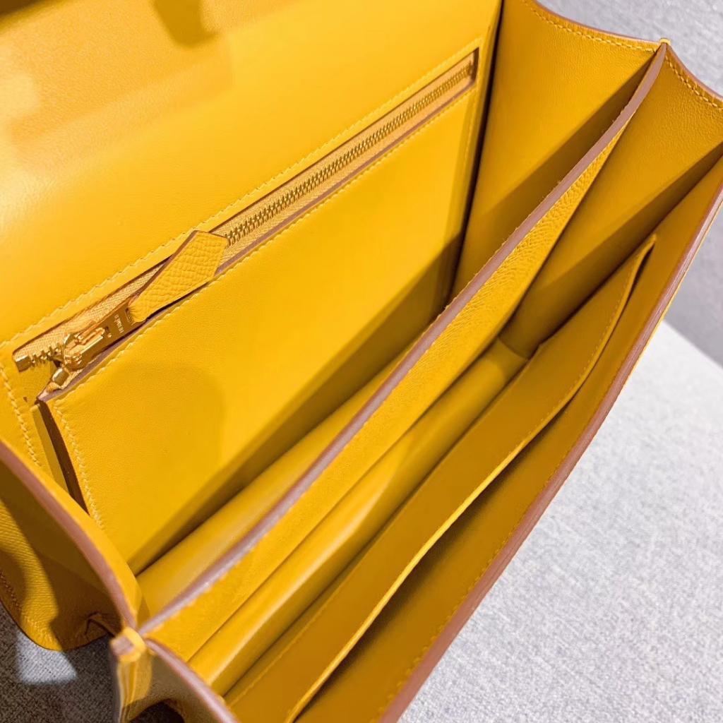 Hermes空姐包 Constance 24cm 原厂法国Epsom皮 琥珀黄 金扣