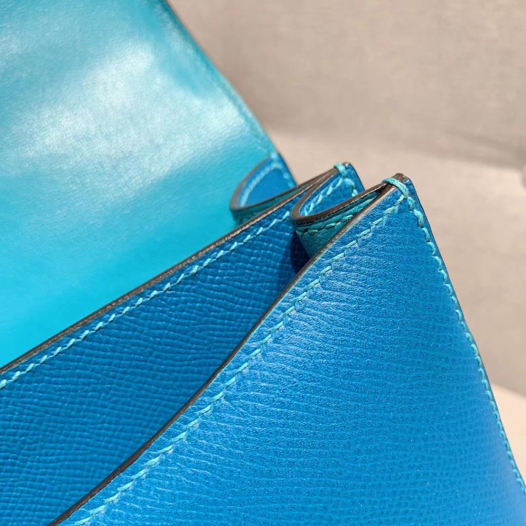 Hermes空姐包 Constance 24cm 原厂法国Epsom皮 伊兹密尔蓝 银扣