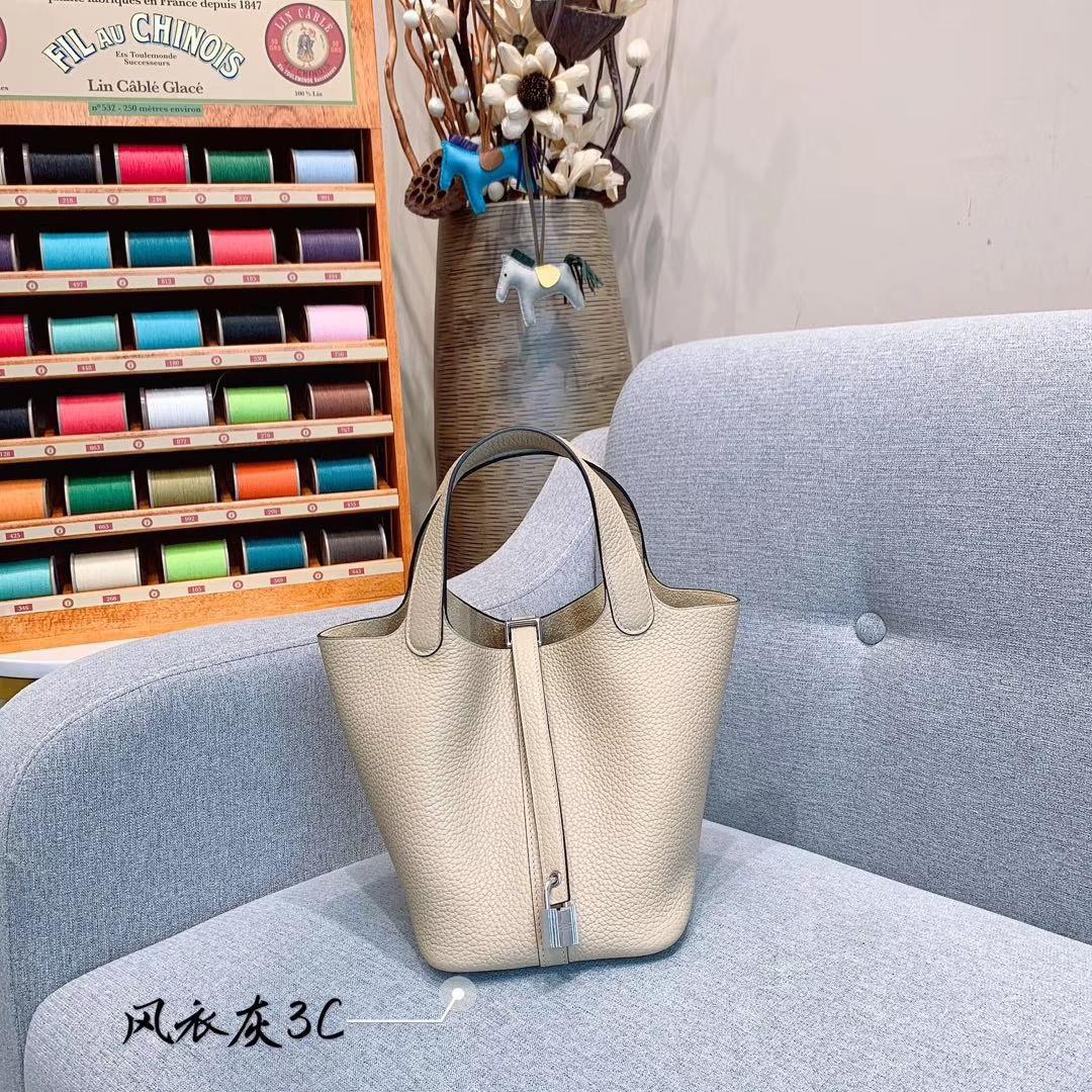 爱马仕Hermes 18cm Picotin菜篮子 法国进口原厂TC皮 风衣灰 银扣