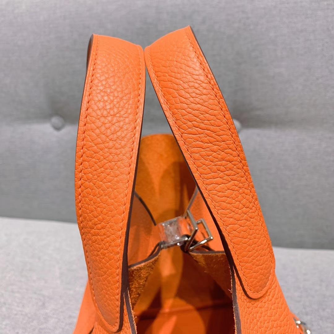 爱马仕Hermes 18cm Picotin菜篮子 法国进口原厂TC皮 橙色 银扣