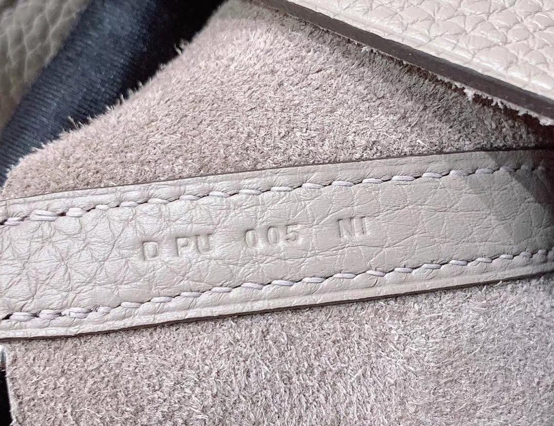 爱马仕Hermes 18cm Picotin菜篮子 法国进口原厂TC皮 沥青灰 银扣