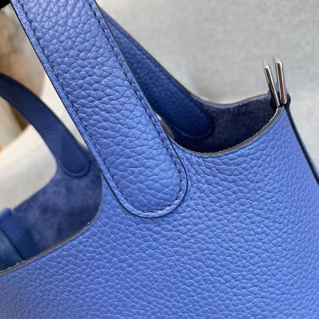 爱马仕Hermes 18cm Picotin菜篮子 法国进口原厂TC皮 明蓝 银扣