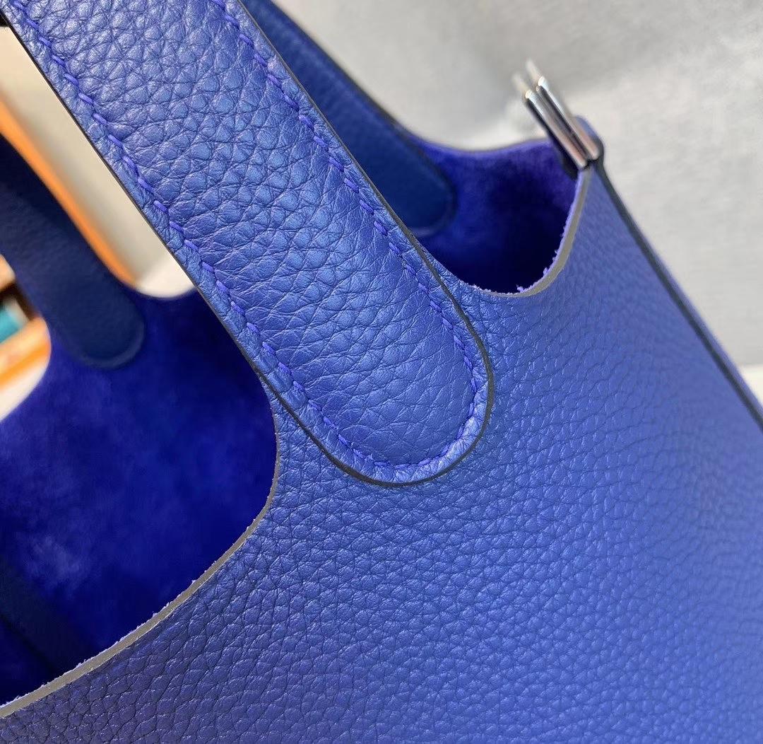 爱马仕Hermes 18cm Picotin菜篮子 法国进口原厂TC皮 电光蓝 银扣