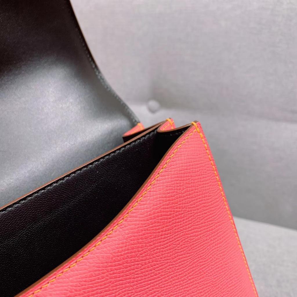 Hermes空姐包 Constance 24cm 原厂法国Epsom皮 唇膏粉内拼黑色 银扣