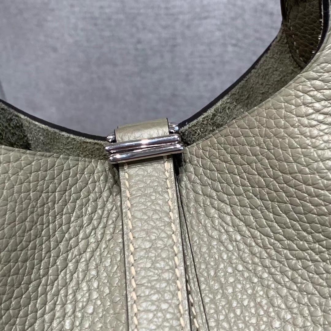 爱马仕Hermes 18cm Picotin菜篮子 法国进口原厂TC皮 鼠尾草绿 金-银扣