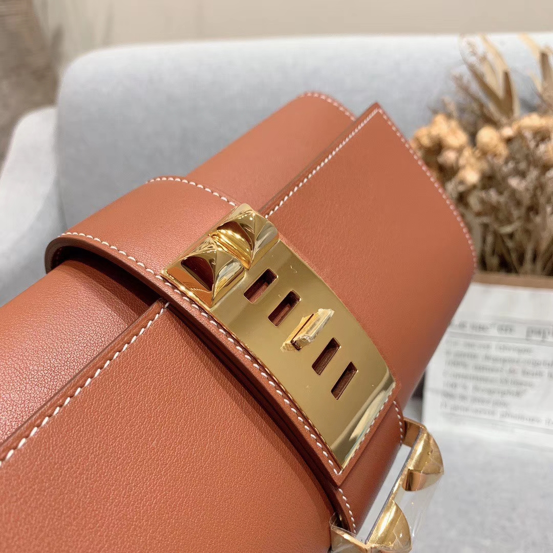 爱马仕包包 CDC手包 进口法国原厂Swift皮 37土黄 进口 蜡线手缝