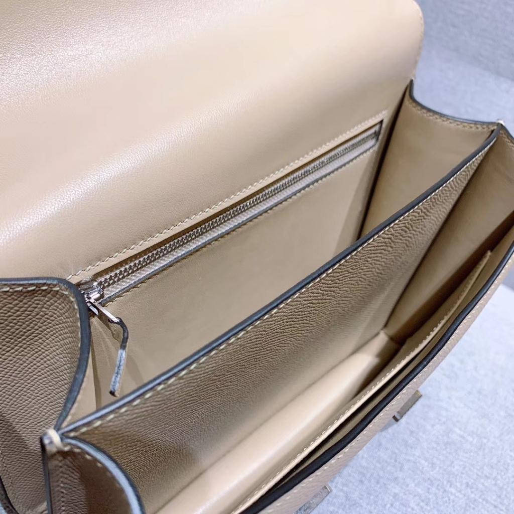 Hermes空姐包 Constance 24cm 原厂法国Epsom皮 浅灰 银扣