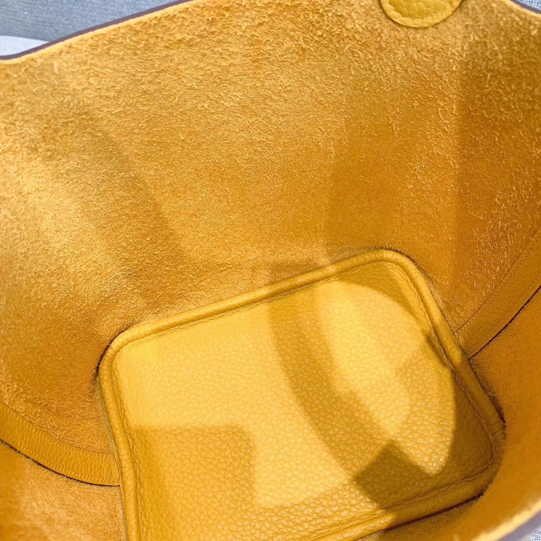 爱马仕Hermes 18cm Picotin菜篮子 法国进口原厂TC皮 琥珀黄 金扣