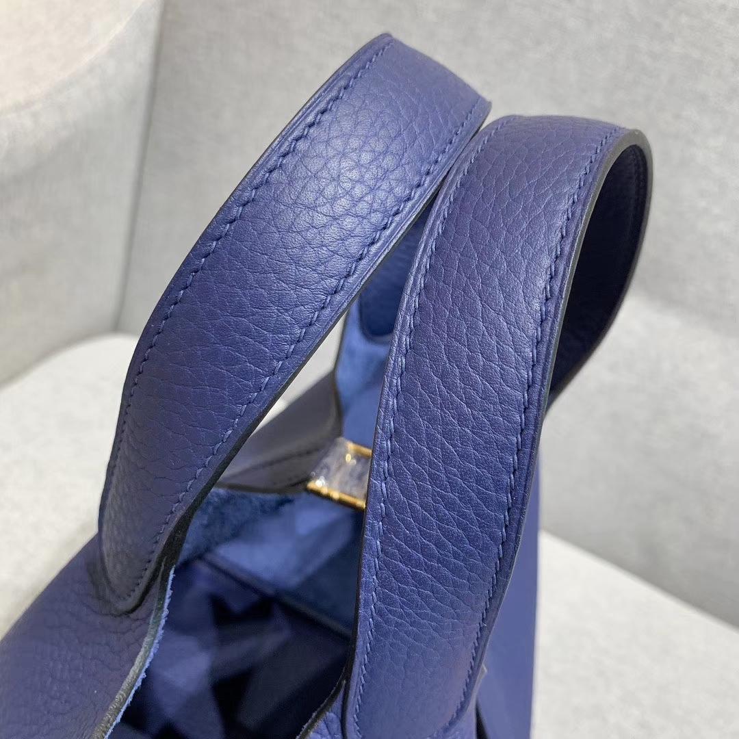 爱马仕Hermes 18cm Picotin菜篮子 法国进口原厂TC皮 宝石蓝 金-银扣
