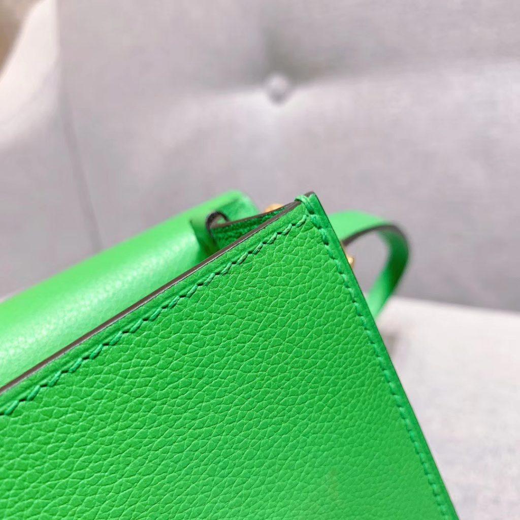 爱马仕猪鼻子 19cm Roulis 原厂Evercolor皮 维罗纳绿 金扣