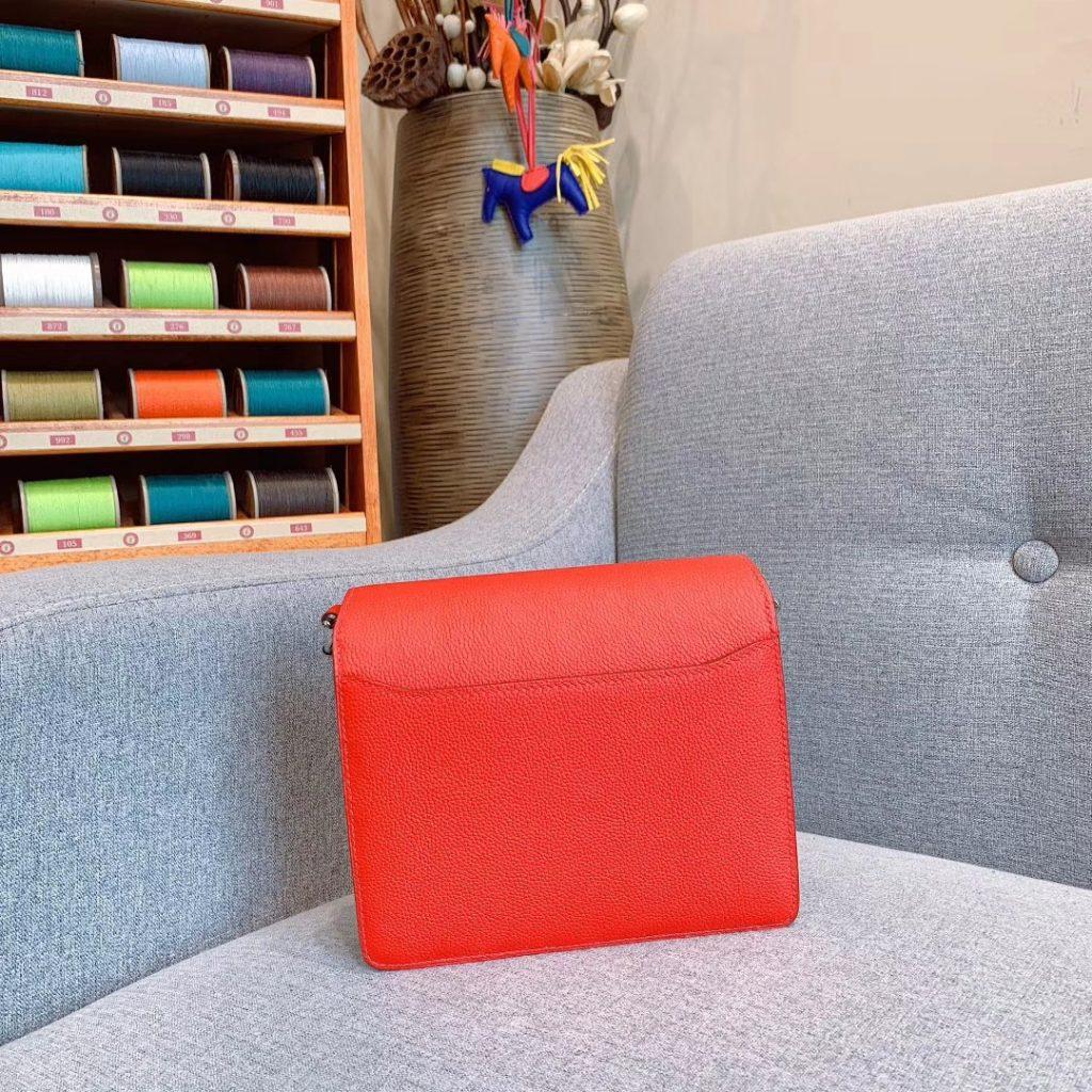 爱马仕猪鼻子 19cm Roulis 原厂Evercolor皮 番茄红 银扣