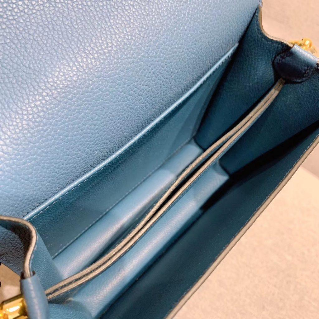 爱马仕猪鼻子 19cm Roulis 原厂Evercolor皮 玛瑙蓝 金扣