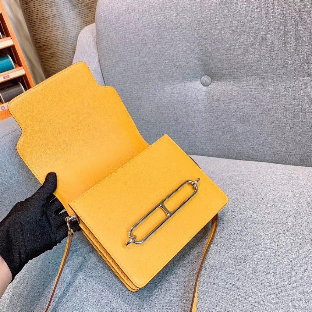 爱马仕猪鼻子 19cm Roulis 原厂Evercolor皮 琥珀黄 银扣