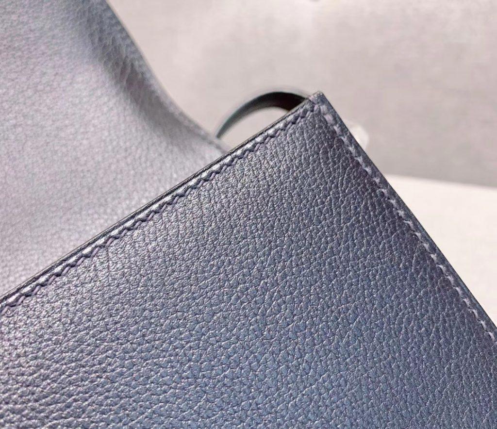 爱马仕猪鼻子 19cm Roulis 原厂Evercolor皮 午夜蓝 银扣