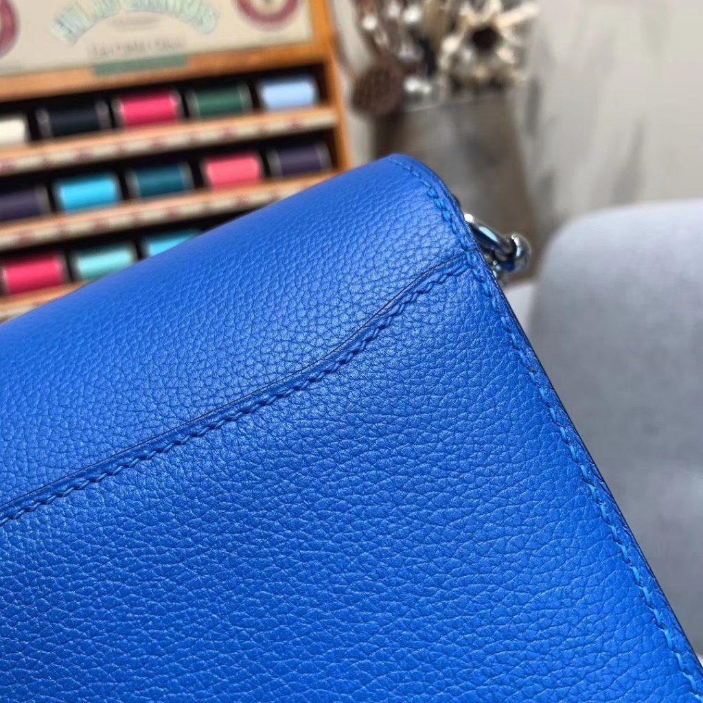 爱马仕猪鼻子 19cm Roulis 原厂Evercolor皮 希腊蓝 银扣