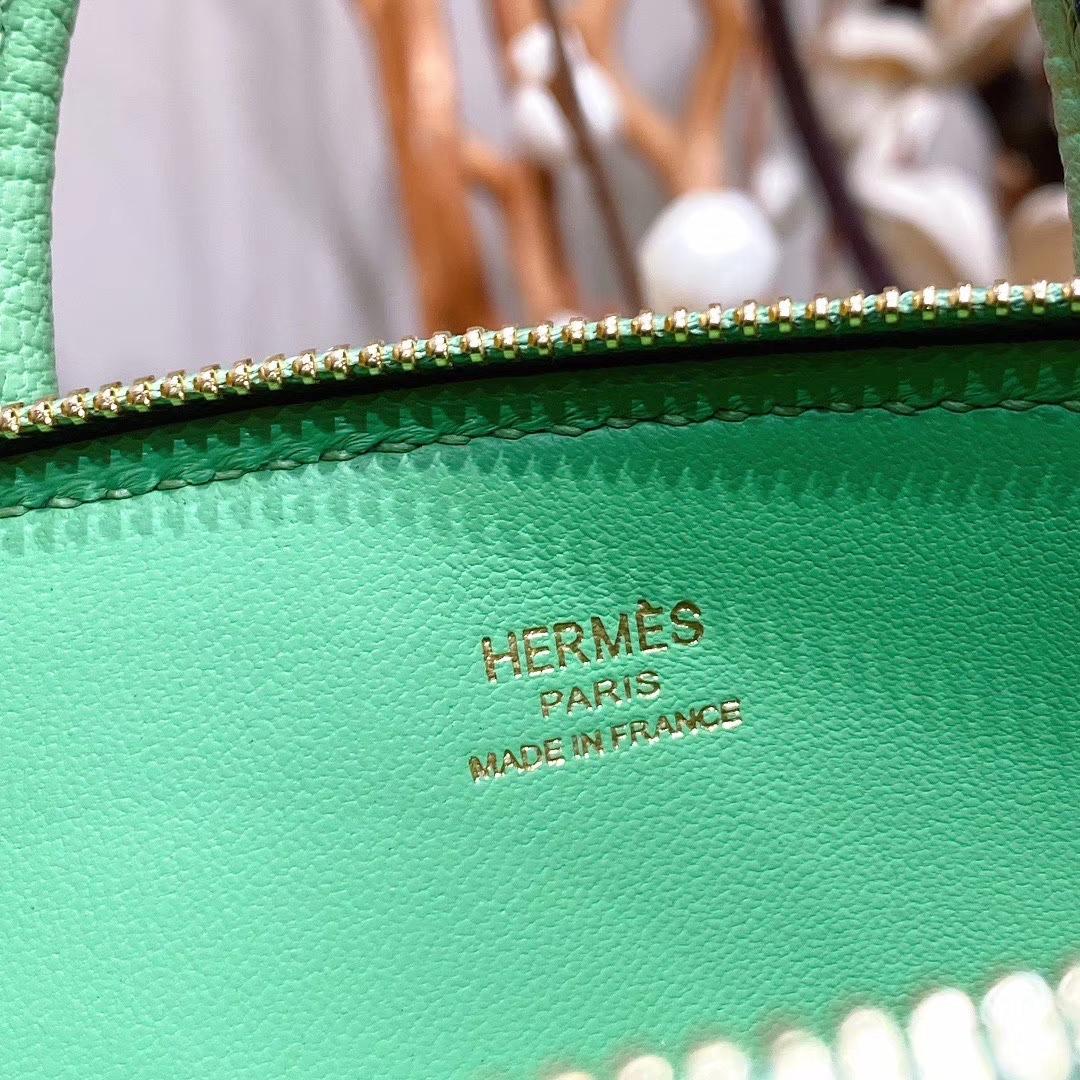 Hermes爱马仕 Bolide17cm 山羊皮 I3牛油果 金扣 手缝蜡线