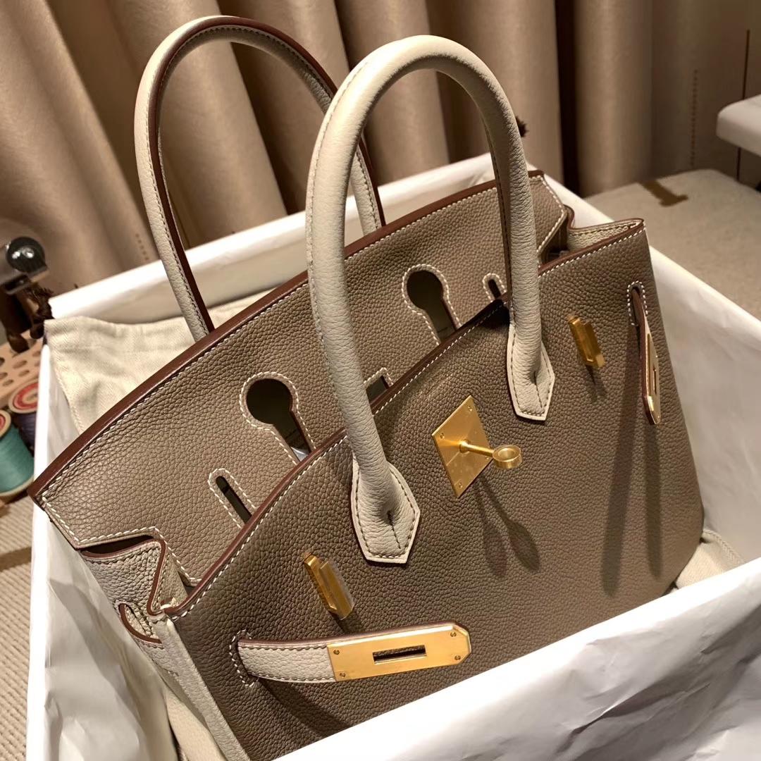 Hermes铂金包 Birkin 30cm Togo 18大象灰拼10奶昔白 磨砂 金扣
