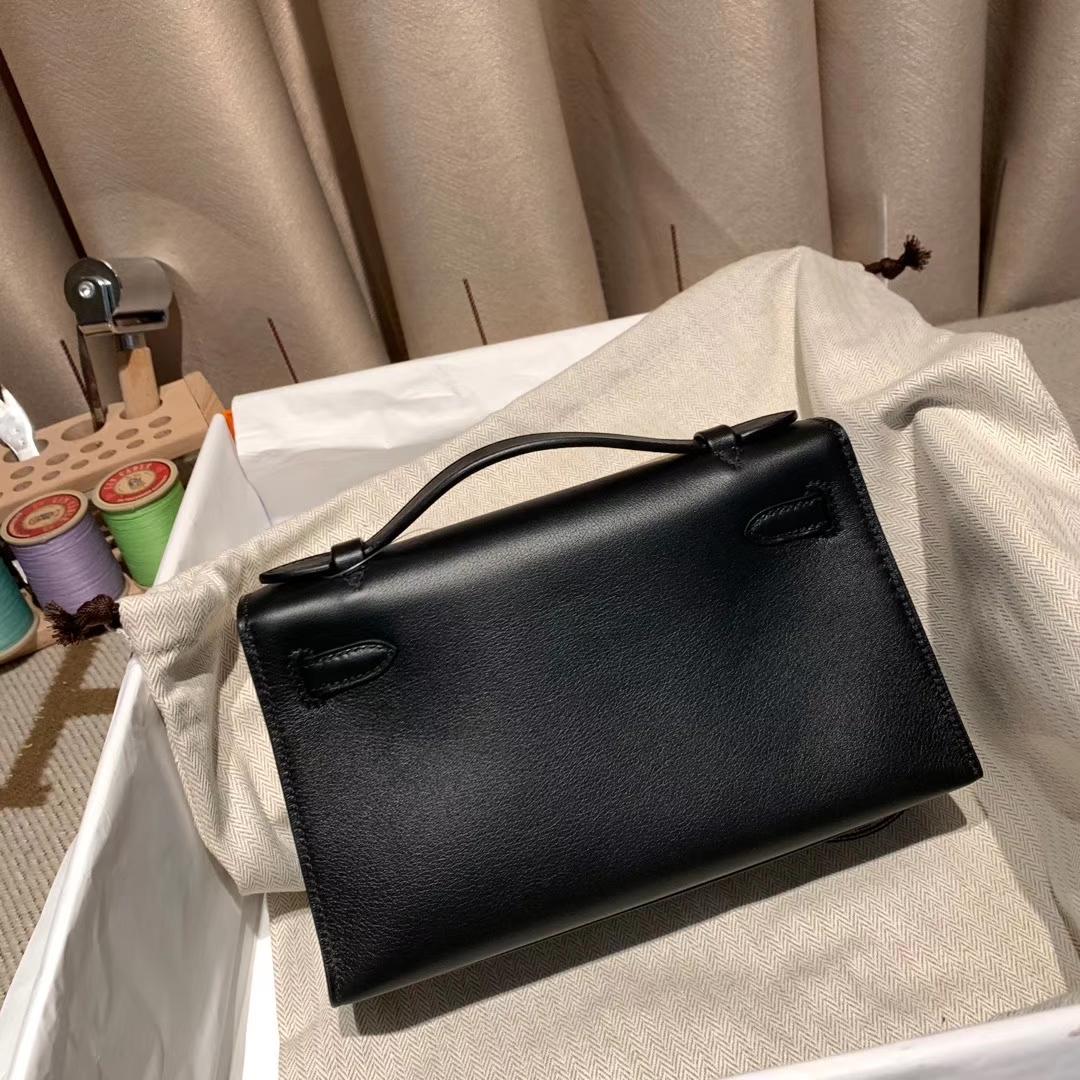 爱马仕包包批发 Mini Kelly 22cm Swift 89黑色 银扣
