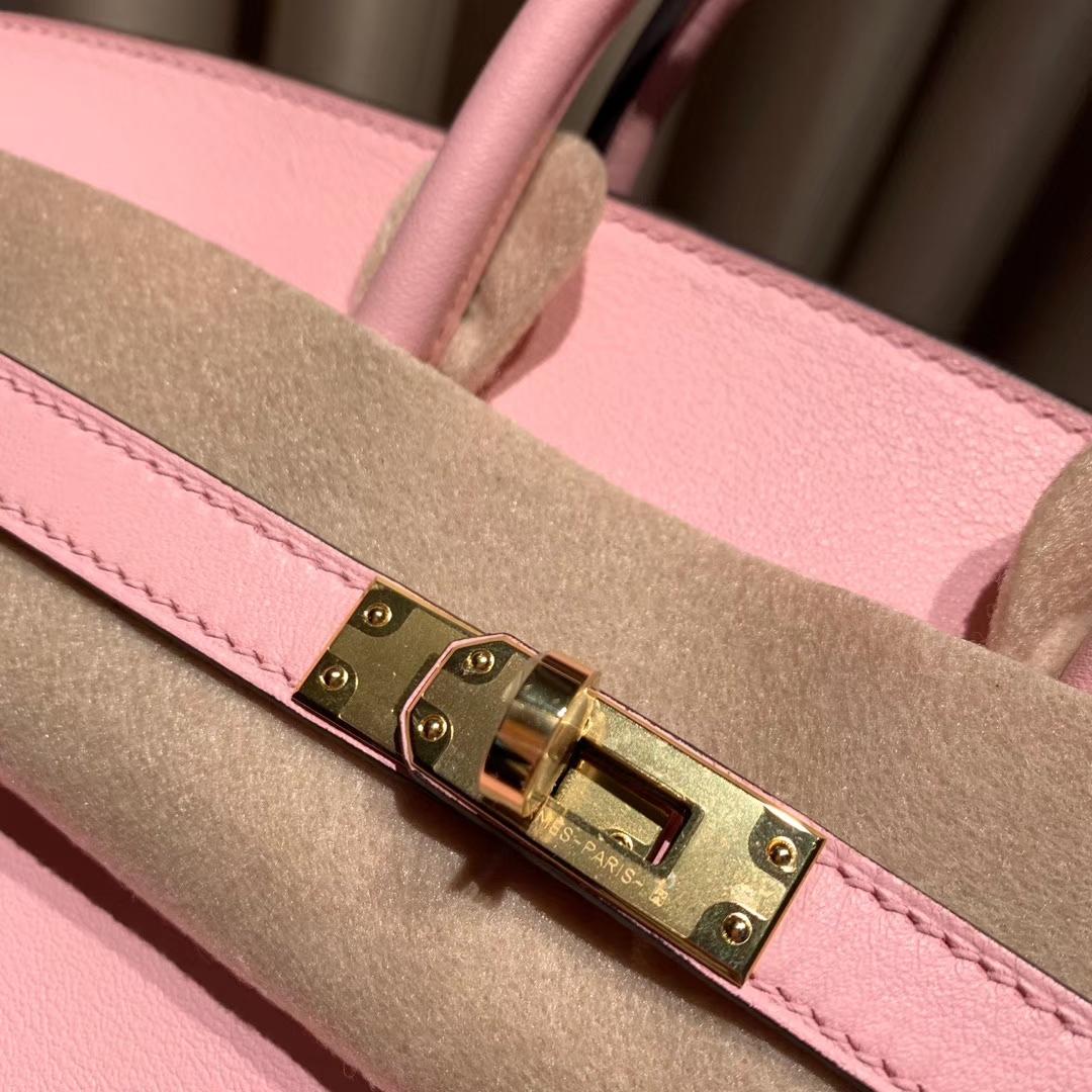 爱马仕铂金包 Birkin 25cm Swift 3Q芭比粉 金扣