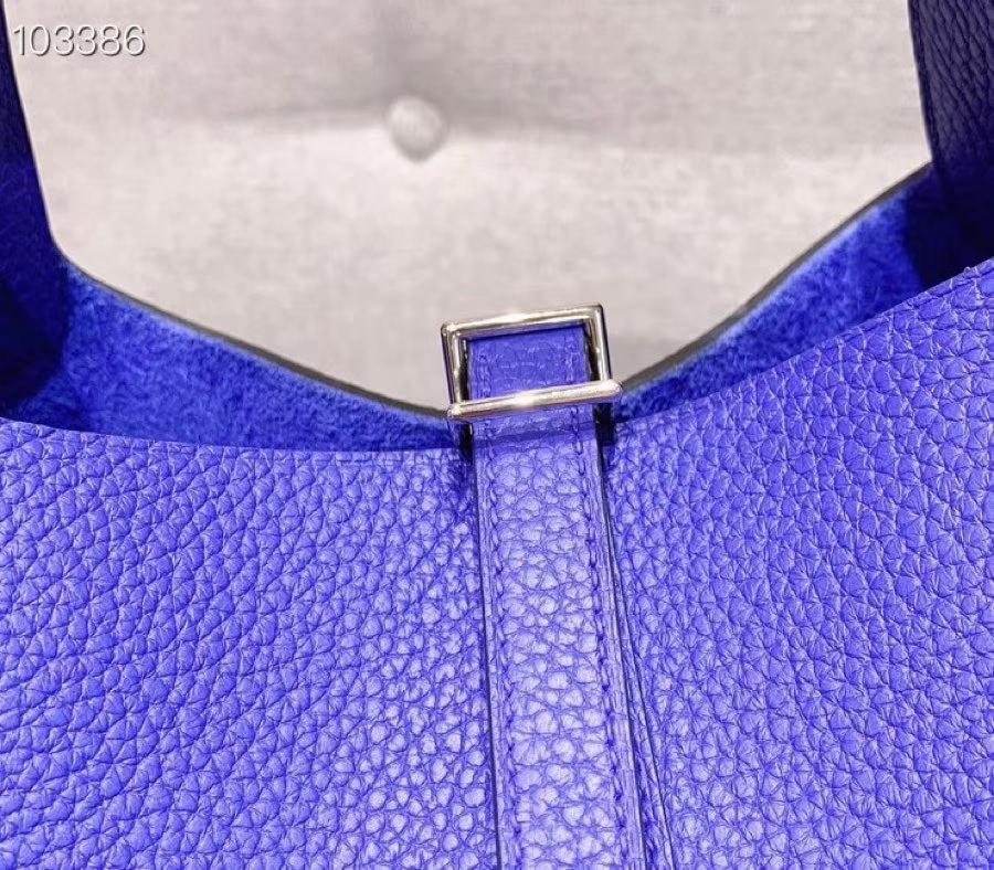 爱马仕菜篮子 Picotin Lock 22cm H入门款 电光蓝 银扣 蜡线手缝