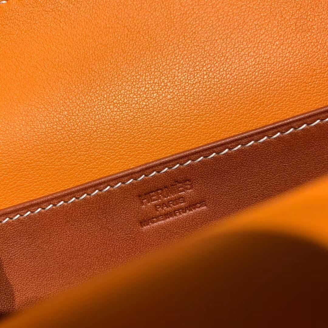爱马仕包包 Mini Halzan 22cm 马鞍皮 Barenia Natural 34原木色拼93橙色 银扣