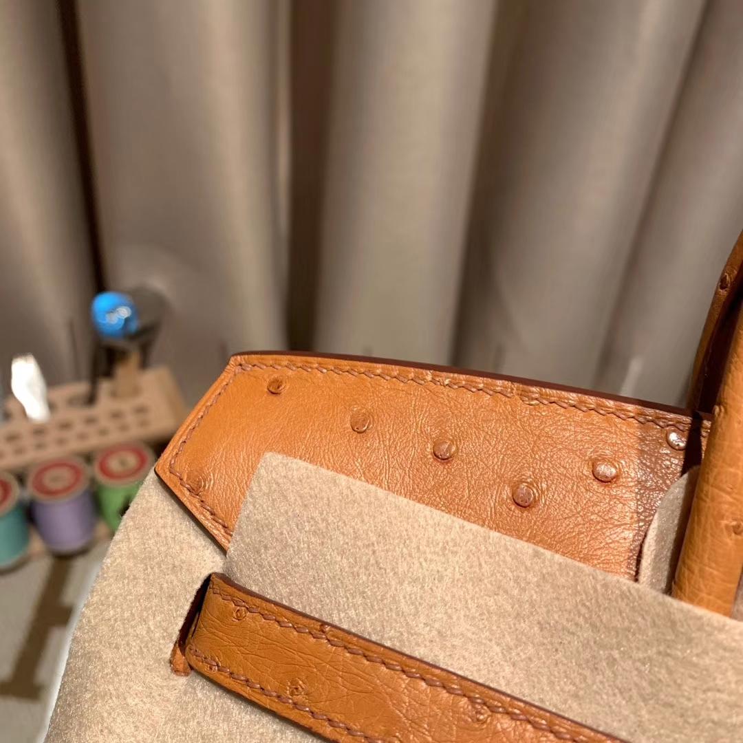 爱马仕包包 Birkin 25cm 南非鸵鸟 37金棕 金扣