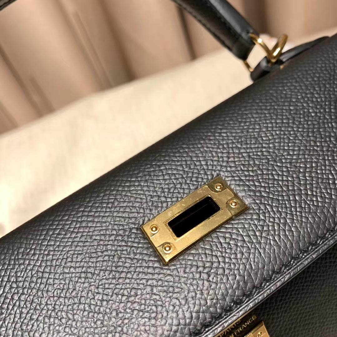 爱马仕包包 Kelly 25cm Epsom 89黑色 金扣