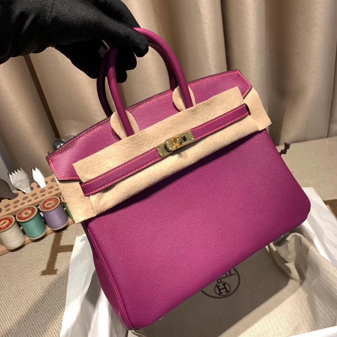 爱马仕铂金包 Birkin 25cm Evercolor P9海葵紫拼唇膏粉 金扣 橙色走线
