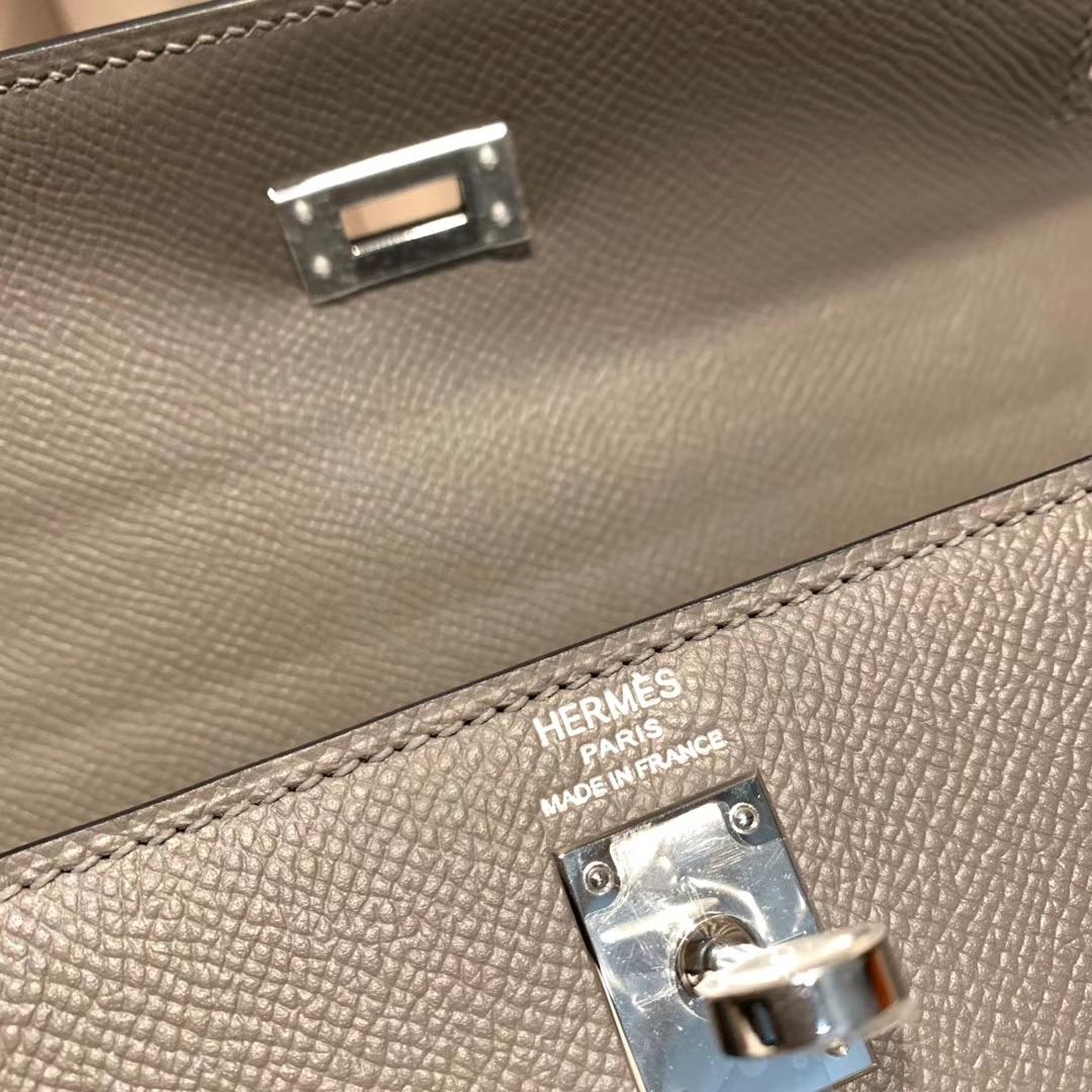 Hermes爱马仕 Kelly 25cm Epsom 8F锡器灰 银扣