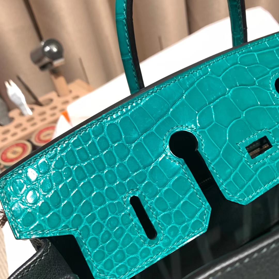 爱马仕铂金包 Birkin Touch 25cm 6O松柏绿拼6Q翡翠绿 金扣