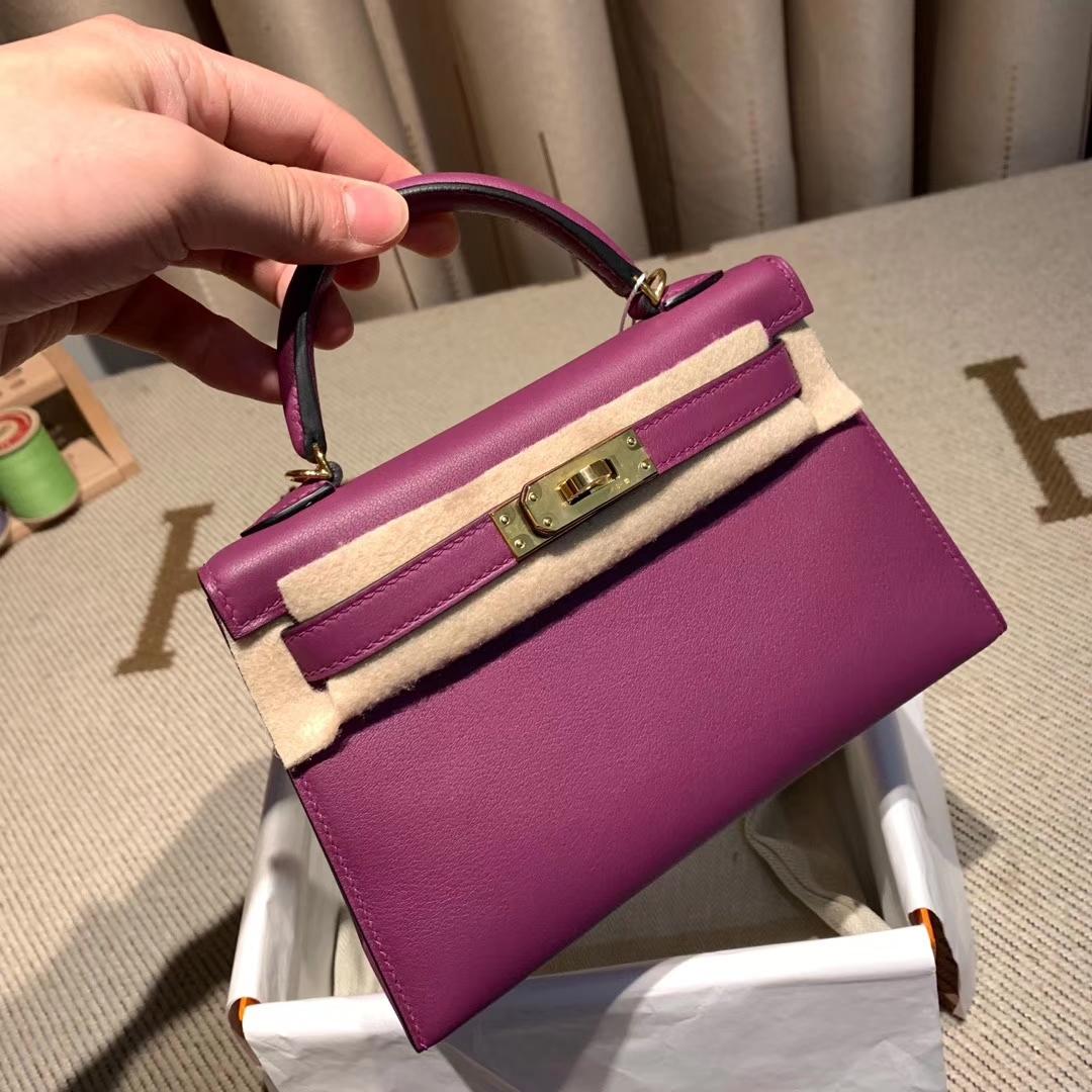 爱马仕包包批发 Mini Kelly二代 P9海葵紫