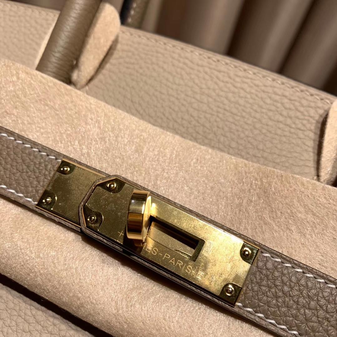 Hermes铂金包 Birkin 30cm Togo 81斑鸠灰拼18大象灰 金扣