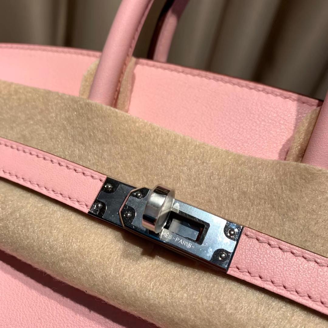 爱马仕铂金包 Birkin 25cm Swift 3Q芭比粉 银扣