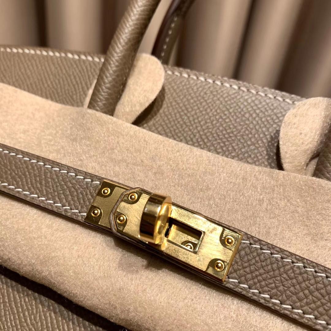 爱马仕包包 Birkin 25cm 外缝 Epsom 18大象灰 金扣