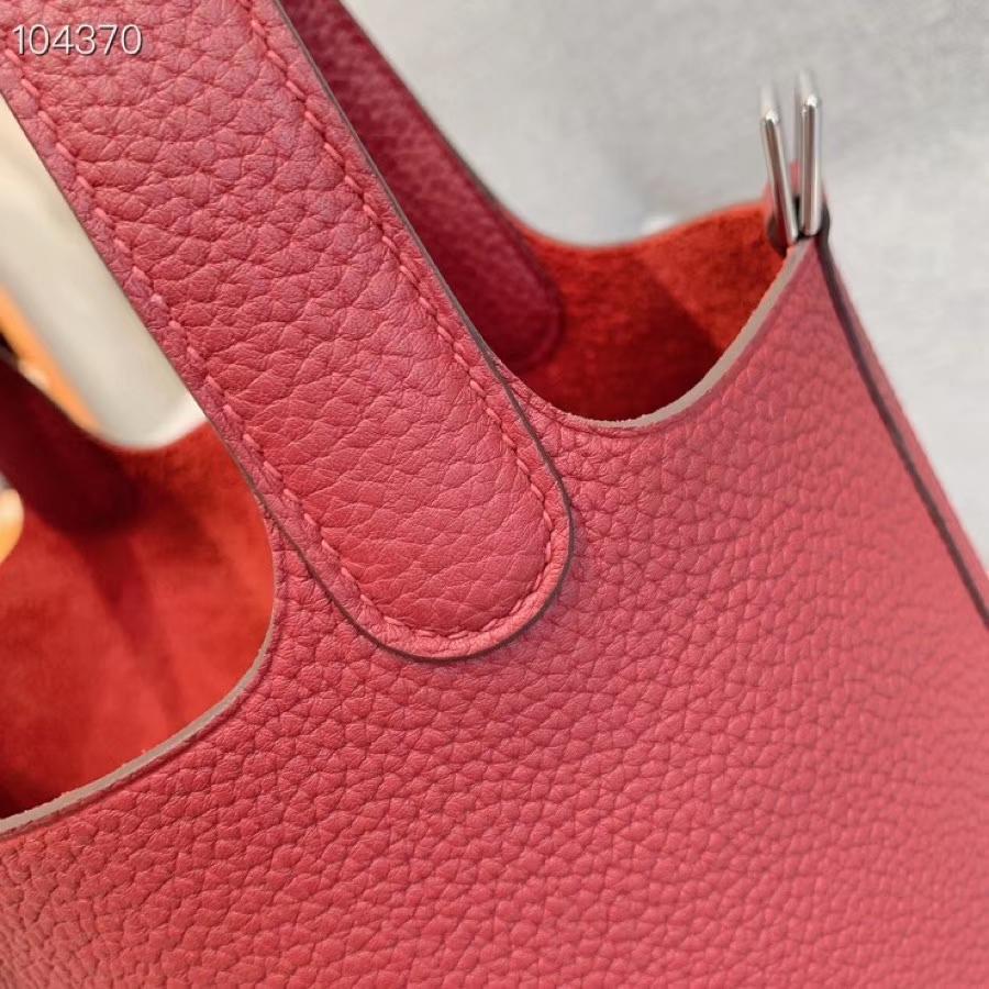爱马仕菜篮子 Picotin Lock 22cm H入门款 酒红 银扣 蜡线手缝