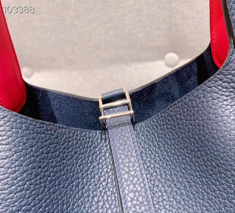 爱马仕菜篮子 Picotin Lock 22cm H入门款 午夜蓝内拼大红 银扣 蜡线手缝