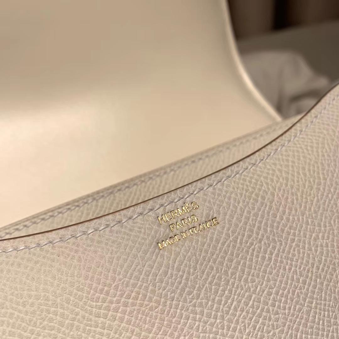 爱马仕包包 Constance 19cm Epsom 10奶昔白 玫瑰金扣