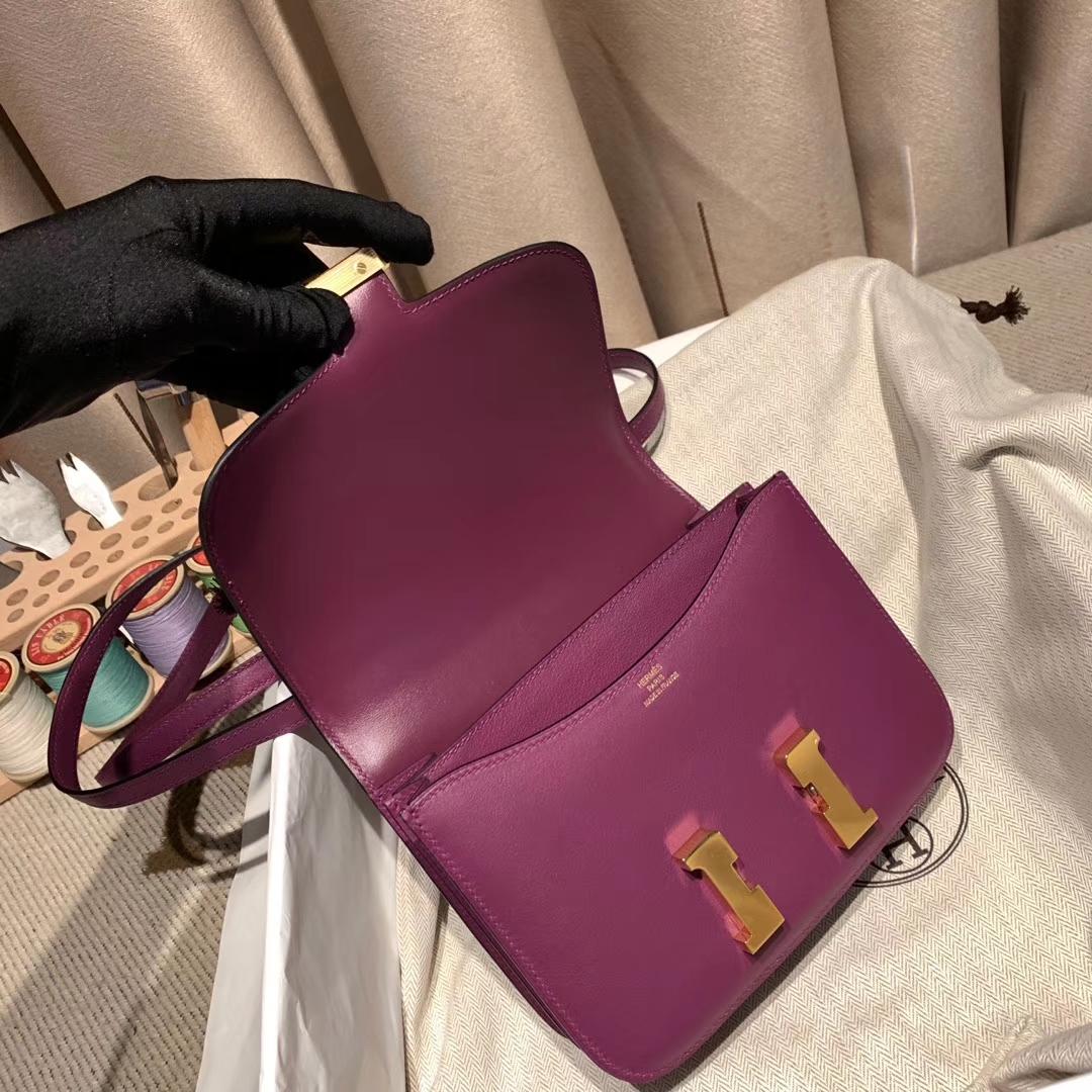 爱马仕包包批发 Constance 19cm Swift P9海葵紫 金扣