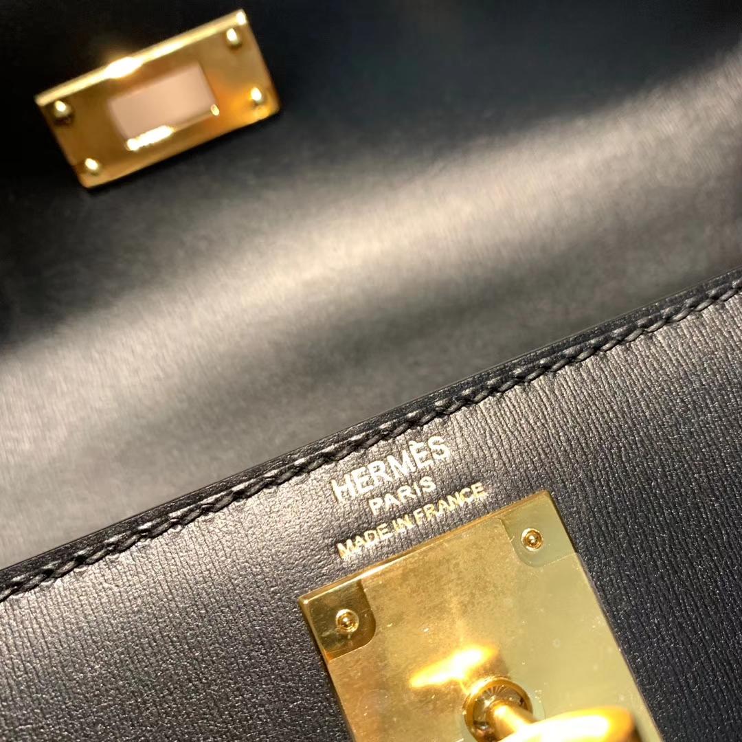 爱马仕包包 Kelly 28cm Box 89黑色 金扣