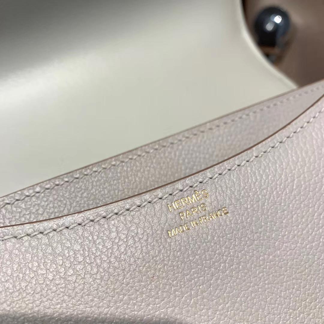 Hermes爱马仕 Constance 19cm Evercolor 80珍珠灰 金扣