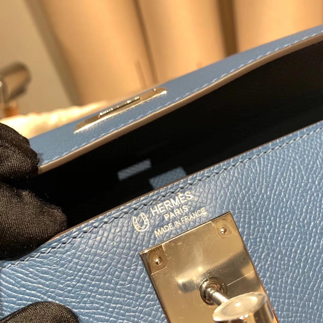爱马仕包包 Kelly R2玛瑙蓝拼M8沥青灰 银扣
