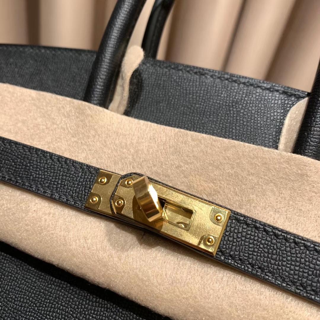 爱马仕包包 Birkin 25cm 外缝 Monsieur 新皮 黑色 金扣