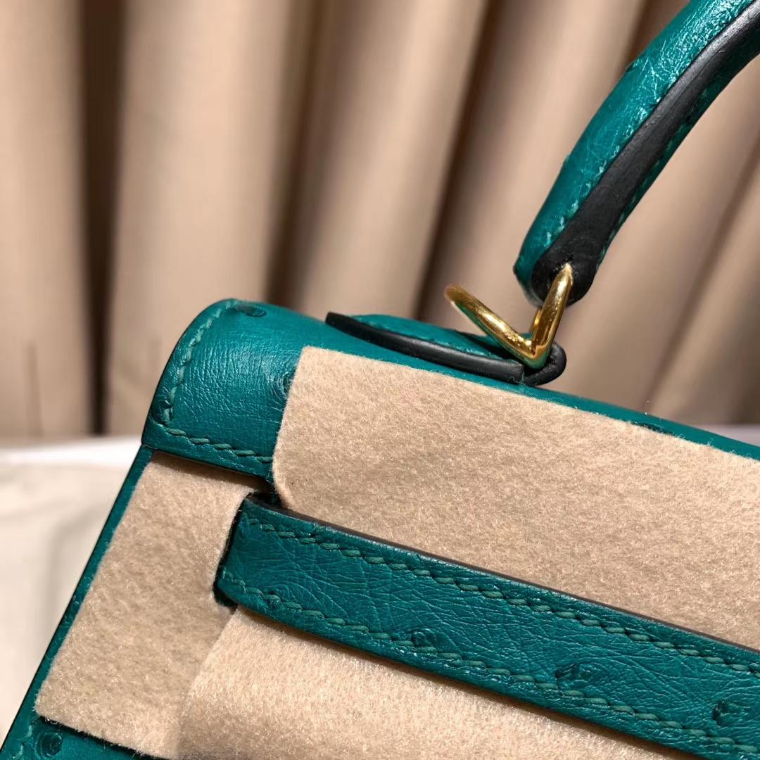 爱马仕包包 Kelly 25cm 南非鸵鸟 Z6孔雀绿 金扣