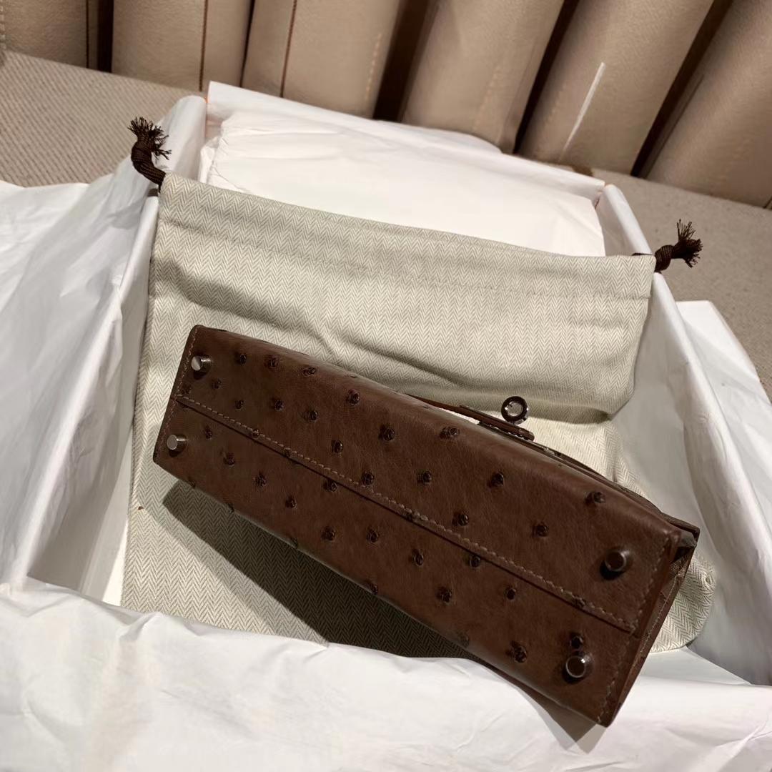 Hermes爱马仕 Mini Kelly II 南非鸵鸟 46朱古力色 银扣