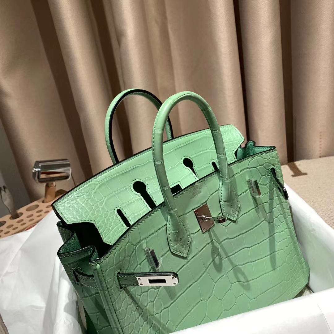 Hermes爱马仕 Birkin 25cm 美洲雾面方块鳄鱼 6U薄荷绿 银扣