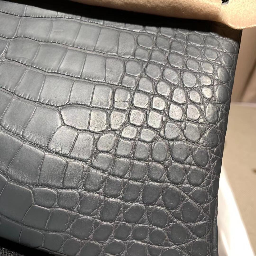 爱马仕包包 Birkin 30cm 蜥蜴 石墨灰 银扣